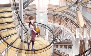 Картинка девушка, книги, вентилятор, арт, лестница, библиотека, shimetta oshime, винтовая