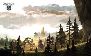 Картинка деревья, пейзаж, скалы, гигант, Child of Light