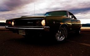 Картинка Dodge, charger, r/t, 1968, black, додж, чарджер, чёрный, передок, фары