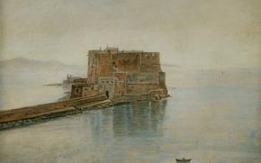 Картинка море, пейзаж, башня, картина, форт, крепость, Кастель-дель-Ово в Неаполе, Карл Густав Карус