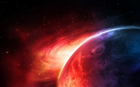 Картинка red, blue, planet, sci fi