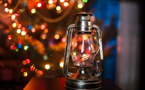 Картинка лампа, елка, огоньки, боке