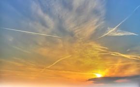 Обои конденсационный след, Небо, облака