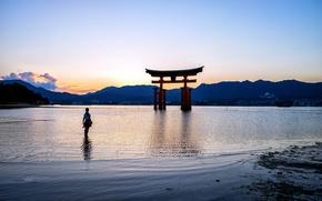 Картинка закат, озеро, берег, Япония