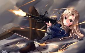 Картинка девушка, оружие, аниме, выстрел, арт, пули, школьница, dreadtie