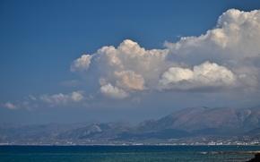 Картинка море, лето, горы, жара, греция, бирюза, крит
