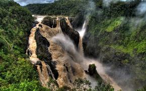 Картинка деревья, туман, река, водопад