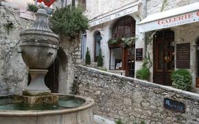 Обои Сен-Поль-де-Ванс, Франция, Лазурный берег, улочка, галерея, фонтан