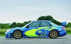Картинка Авто, Синий, Subaru, Impreza, Колеса, Машина, wrx, WRC, Rally, Вид сбоку, Оригинал