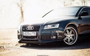 Картинка машина, авто, Audi, Ауди, фотограф, перед, диски, auto, photography, photographer, Thirteen, Марк Литовкин, A5 Coupe