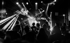 Картинка lights, people, globes, eletronic music, disc jockey, DJ