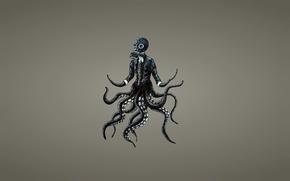 Картинка осьминог, щупальца, противогаз, octopus, темноватый фон