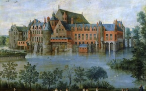Картинка деревья, пейзаж, пруд, люди, замок, картина, Ян Брейгель