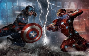Картинка Iron Man, Captain America, Chris Evans, Tony Stark, Steve Rogers, Robert Downey, Captain America: Civil ...