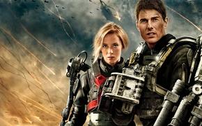 Обои Tom Cruise, небо, Rita Vrataski, Bill Cage, битва, экзоскелет, Edge of Tomorrow, Emily Blunt, Грань ...