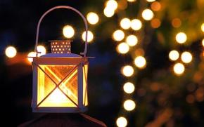 Картинка свет, ночь, огни, вечер, фонарик, боке
