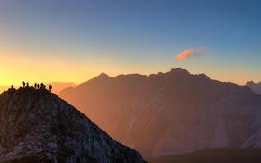 Картинка свет, пейзаж, горы, рассвет, вершины