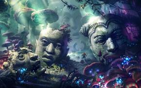 Картинка лес, магия, magic forest, каменные головы