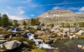 Картинка небо, облака, река, ручей, камни, дерево, гора, поток