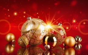 Картинка шарики, украшения, праздник, Новый Год, Рождество, red, Christmas, balls, New Year, christmas decoration