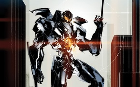 Картинка фантастика, робот, Идрис Эльба, Pacific Rim, Тихоокеанский рубеж, Чарли Ханнэм