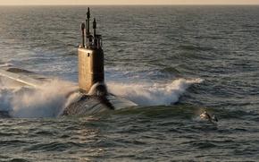 Картинка волны, океан, лодка, дельфины, США, подводная, ВМС, submarine, класса, «Вирджиния», USS Minnesota, (SSN-783)