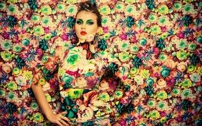 Обои модель, девушка, фотошоп, макияж, цветы, стиль