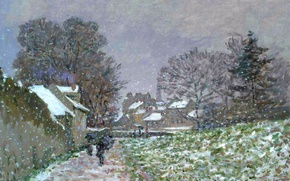 Картинка пейзаж, картина, Клод Моне, Снег в Аржантёе