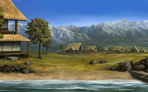 Картинка пейзаж, горы, река, камни, лодка, дома, деревня, арт