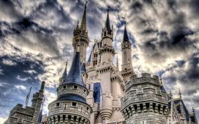 Картинка небо, облака, замок, hdr, башни