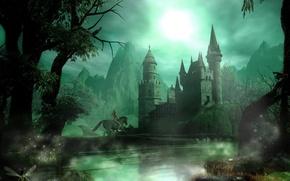 Обои ночь, фентези, замок, всадница