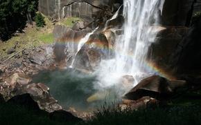 Обои радуга, разлом, захватывает, водопад, скалы, сила