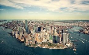 Картинка море, побережье, Нью-Йорк, панорама, залив, США, Манхэттен, мегаполис