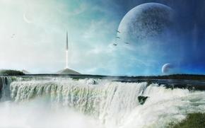 Картинка пена, птицы, планеты, корабль, водопад, ракета, арт, пирамиды, шпиль