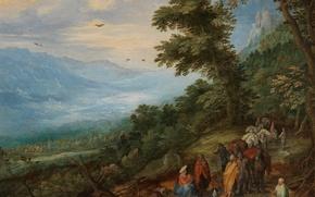 Картинка пейзаж, картина, Ян Брейгель старший, Цыганский Табор в Лесу