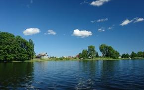 Обои деревня, вода, зелень