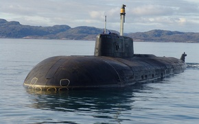 Картинка море, бухта, штиль, проект, ракетами, ПЛАРК, Атомная подводная лодка, 949А OSCAR-II, с противокорабельными крылатыми