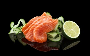 Обои огурцы, лимоны, морепродукты, филе, рыба, нарезка