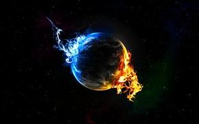 Картинка звезды, синий, огонь, пламя, планета