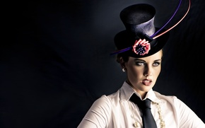 Картинка взгляд, девушка, шляпа, галстук, бант