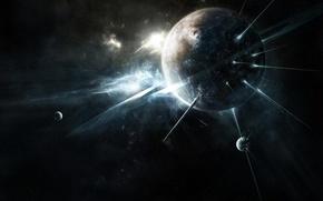 Картинка космос, лучи, свет, пространство, планеты
