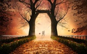 Картинка осень, деревья, листва, человек, фотошоп, мостик
