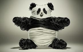 Обои панда, Провода