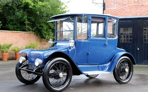Картинка ретро, голубой, сбоку, Detroit, 1915, Electric, Brougham
