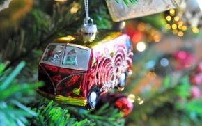 Обои ветки, игрушка, елка, ель, Volkswagen, Новый Год, Рождество, автобус, Christmas, New Year, елочная