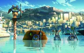 Обои бегемот Глория, жираф Мелман, зебра Марти, строения, маски, город, мультфильм, вода, небо, здания, мадагаскар 3, ...