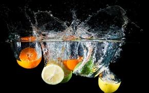 Картинка вода, брызги, лимон, апельсин, лайм, цитрусы