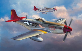 Картинка war, art, painting, aviation, ww2, P-51 D Mustang