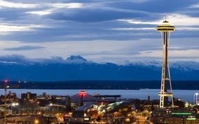 Обои вечер, башня, горы, Сиэтл
