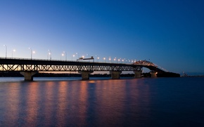 Обои огни, вечер, Мост